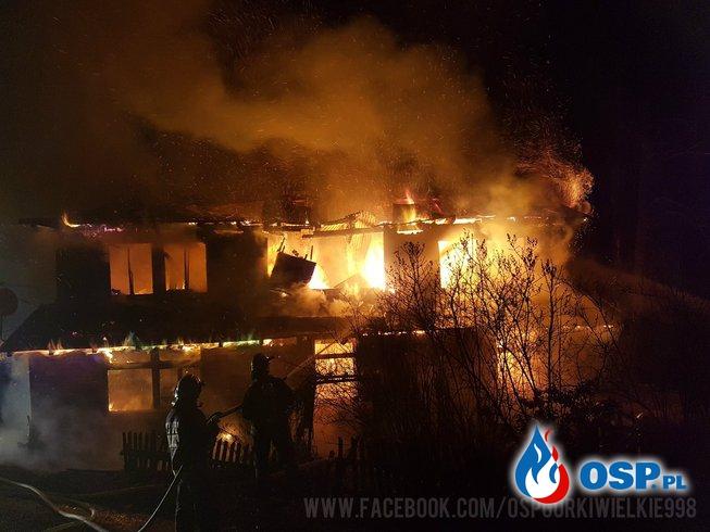 Nocny pożar budynku mieszkalnego OSP Ochotnicza Straż Pożarna