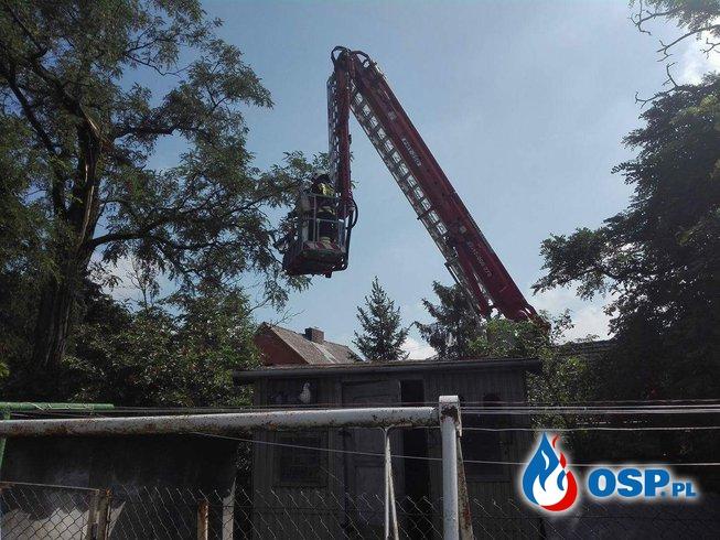 Efekty burzowego poranka. Pożar stodoły i złamane drzewo. OSP Ochotnicza Straż Pożarna