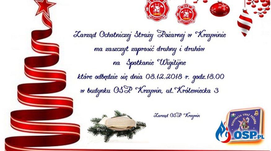 Zaproszenie na Spotkanie Wigilijne OSP Ochotnicza Straż Pożarna