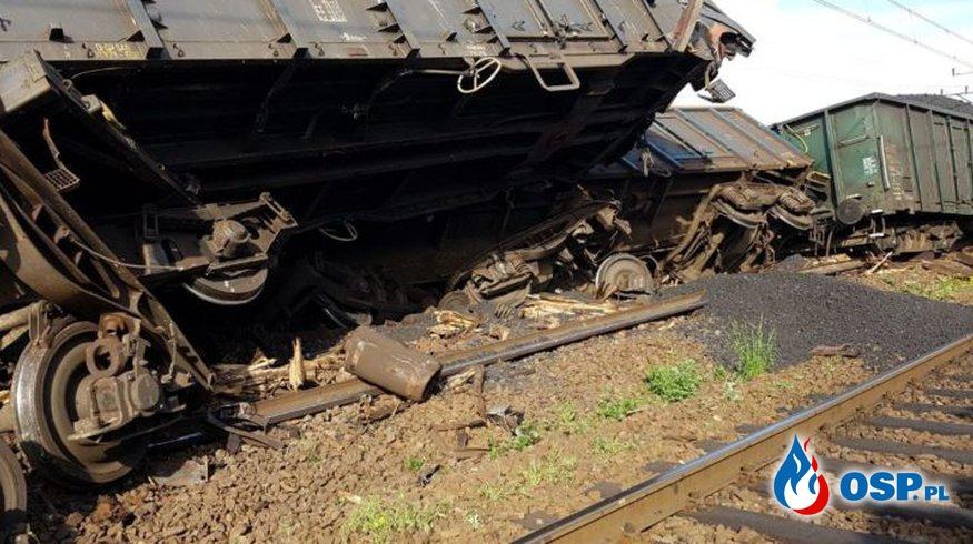 Wykolejony pociąg towarowy we Wronkach OSP Ochotnicza Straż Pożarna
