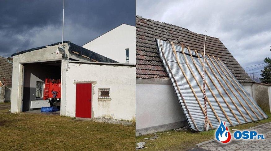 Wiatr zerwał dach z remizy OSP Falmirowice. Strażacy byli wtedy na akcji. OSP Ochotnicza Straż Pożarna
