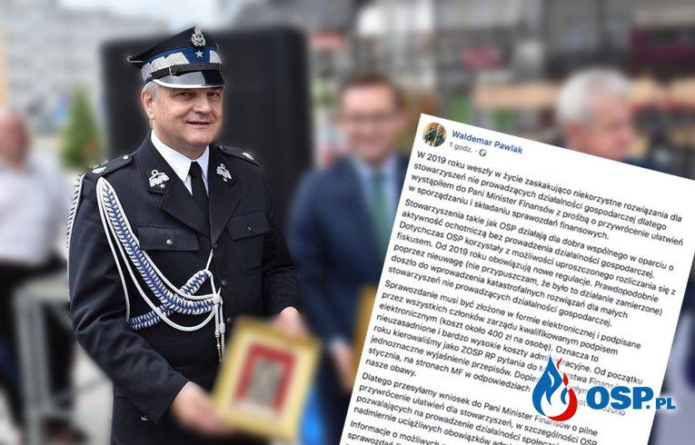 Waldemar Pawlak pisze do minister finansów. Chodzi o pieniądze. OSP Ochotnicza Straż Pożarna