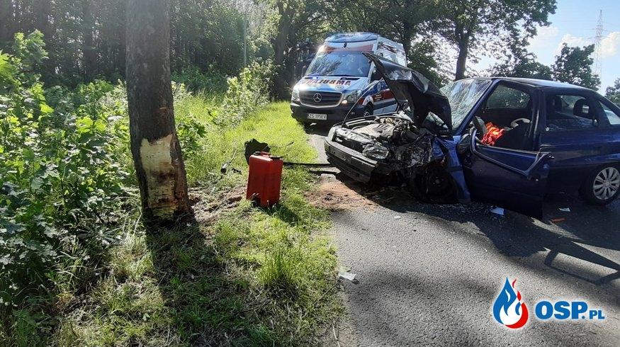 Wypadek drogowy - droga wojewódzka nr 102 OSP Ochotnicza Straż Pożarna