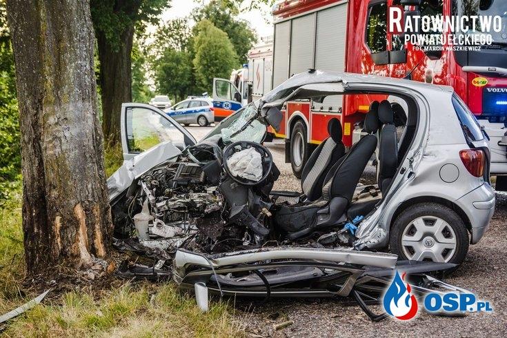 Tragiczny wypadek pod Ełkiem. W akcji śmigłowiec LPR. OSP Ochotnicza Straż Pożarna