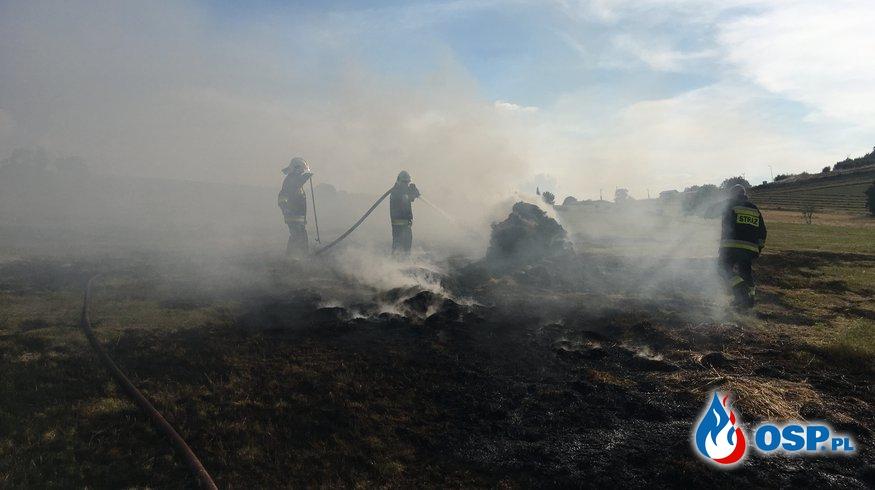Dziwiszów: Pożar bel siana i ambony myśliwskiej. OSP Ochotnicza Straż Pożarna