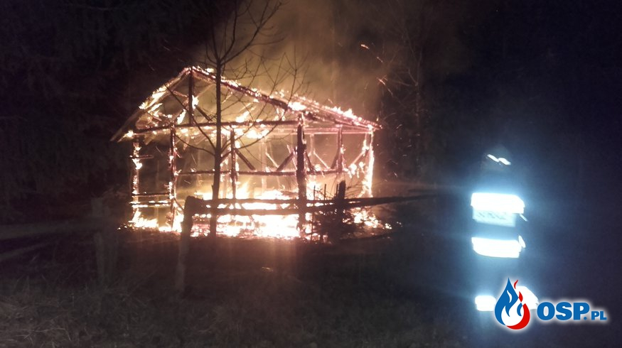 11.02- Pożar szopki i altany OSP Ochotnicza Straż Pożarna