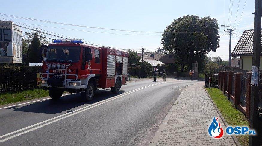 Plama oleju - ul. Zakopiańska w Babicach OSP Ochotnicza Straż Pożarna