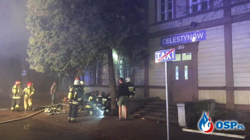 Pożar dworca w Celestynowie. Jedna osoba nie żyje. OSP Ochotnicza Straż Pożarna