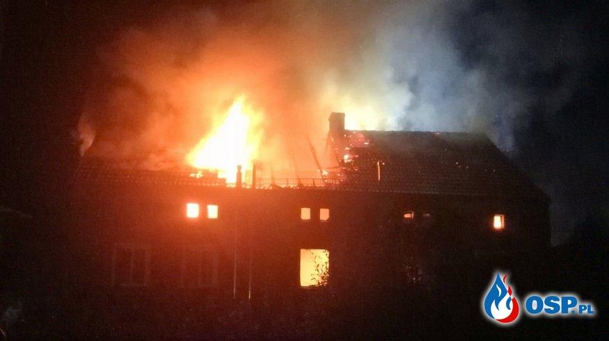 Dwie osoby zginęły w pożarze budynku w Pieszycach. Troje lokatorów udało się uratować. OSP Ochotnicza Straż Pożarna