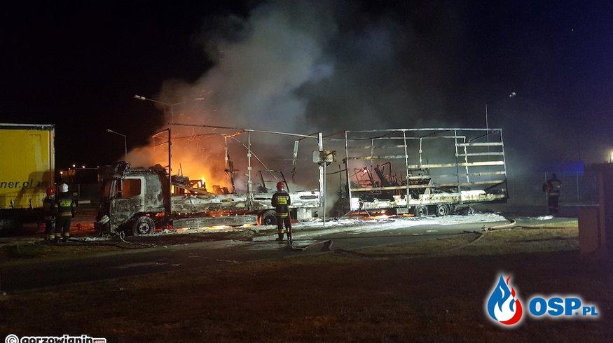Ogromny pożar ciężarówki na stacji paliw w Gorzowie Wielkopolskim. OSP Ochotnicza Straż Pożarna