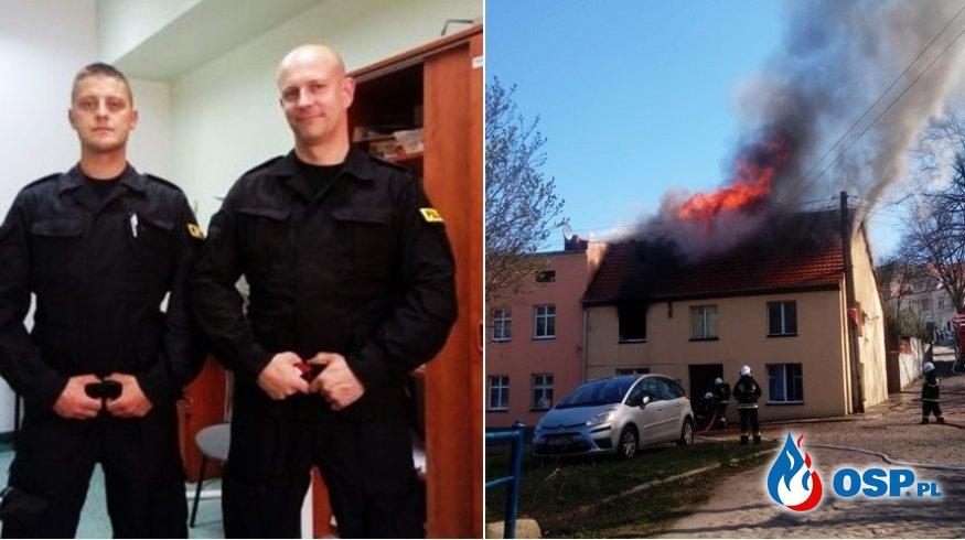 Policjanci wyprowadzili mieszkańców z płonącego budynku OSP Ochotnicza Straż Pożarna