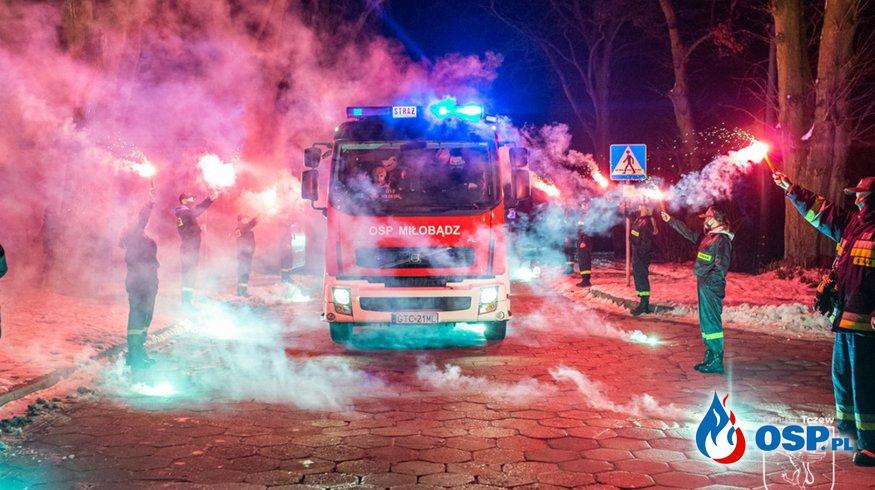 """""""Ciężka"""" Scania zaparkowała w remizie OSP Miłobądz. Kosztowała milion złotych. OSP Ochotnicza Straż Pożarna"""