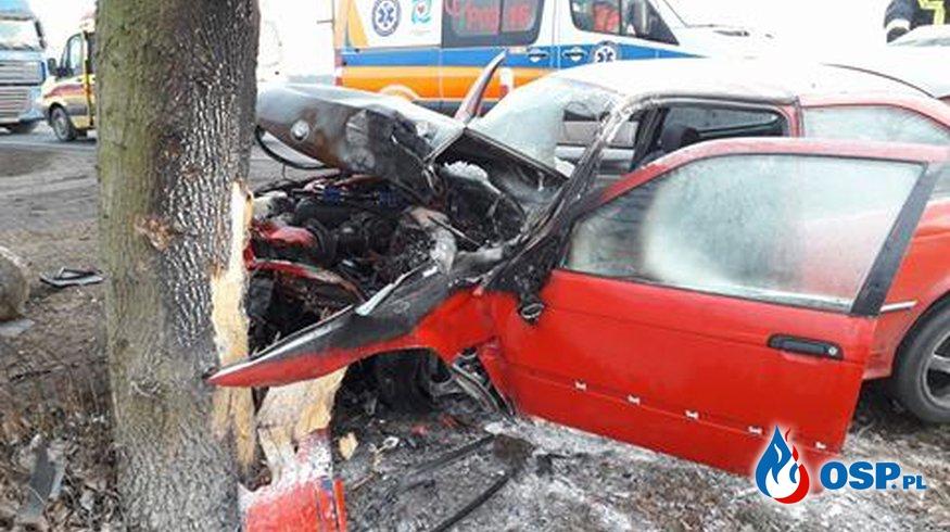 Wypadek w Lulkowie - auto w ogniu !!! OSP Ochotnicza Straż Pożarna
