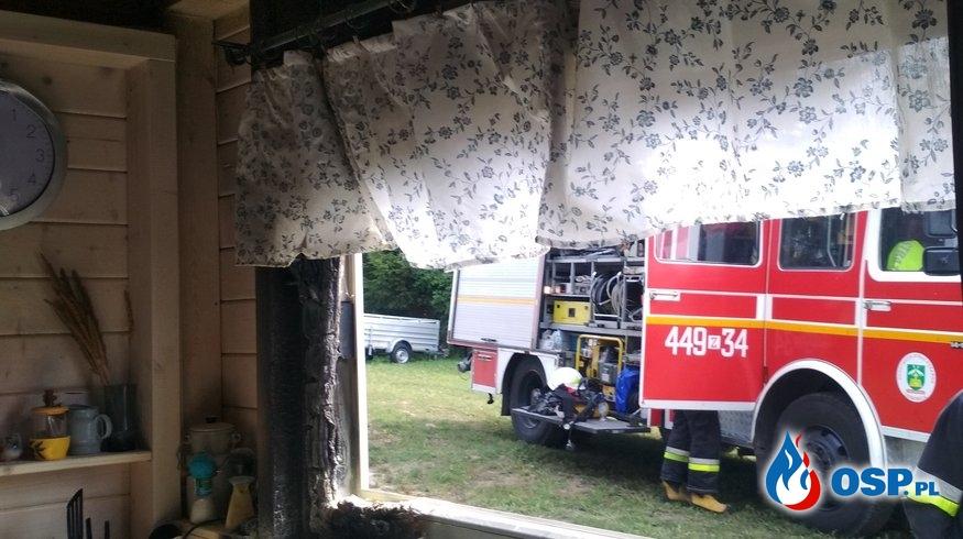Pożar domku letniskowego. Kusin 07.08.2019r. OSP Ochotnicza Straż Pożarna
