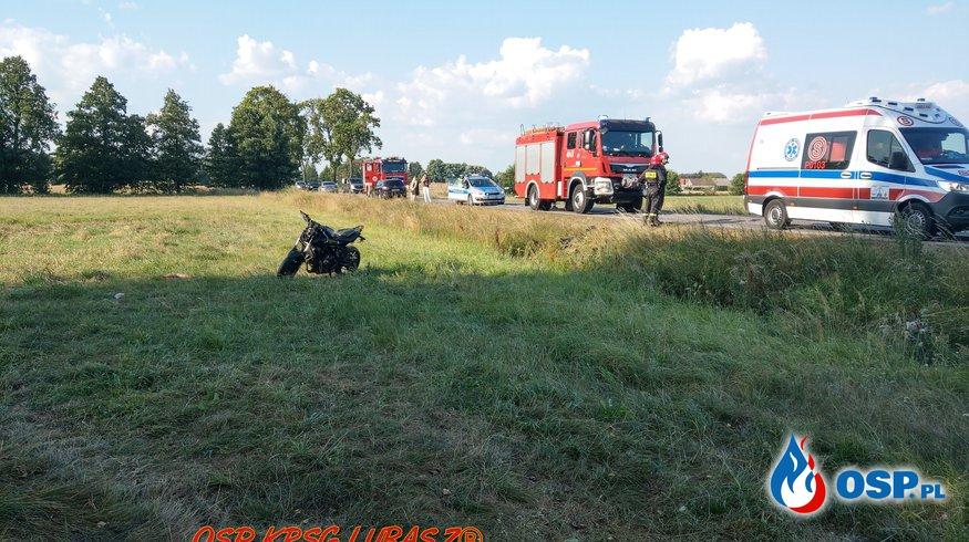 Kolizja samochodu osobowego z motocyklem OSP Ochotnicza Straż Pożarna