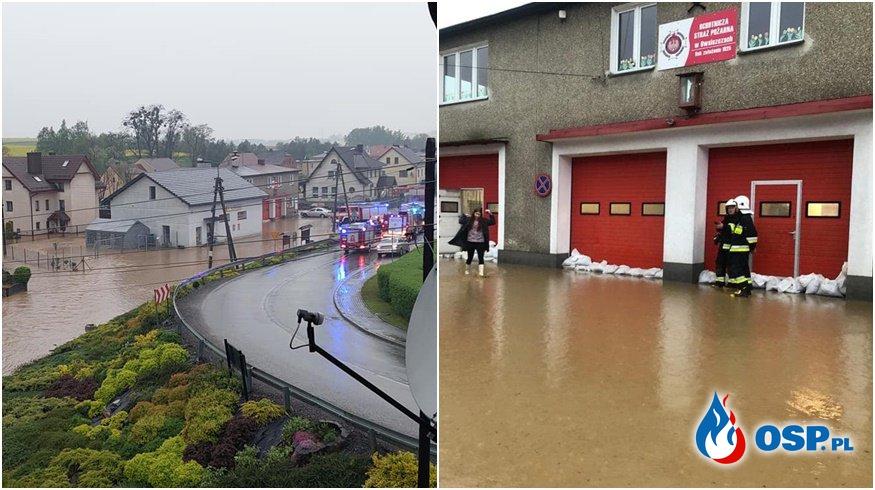 Ulice zamieniły się w rwące potoki. Po kolejnych nawałnicach zalane domy i remizy OSP. OSP Ochotnicza Straż Pożarna