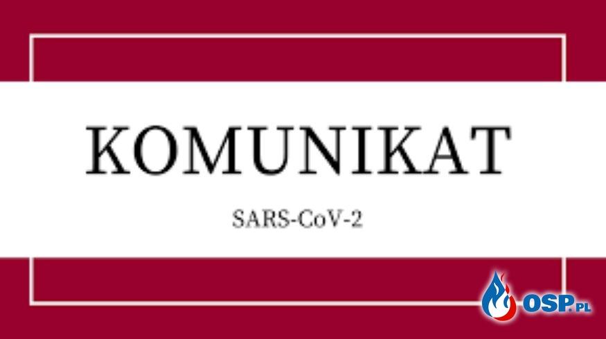 Komunikat Sars-CoV-2 wygłaszany przez strażaków OSP Ochotnicza Straż Pożarna