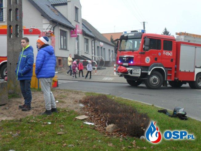 Wypadek Lubasz skrzyżowanie ul.Chrobrego i ul.Szkolnej OSP Ochotnicza Straż Pożarna