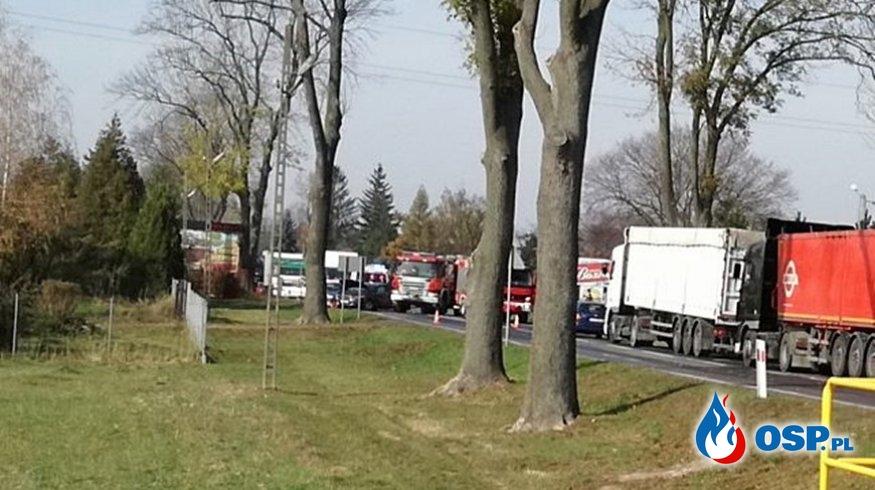 Wypadek strażaków, jadących do akcji. Wóz bojowy zderzył się z samochodem osobowym. OSP Ochotnicza Straż Pożarna