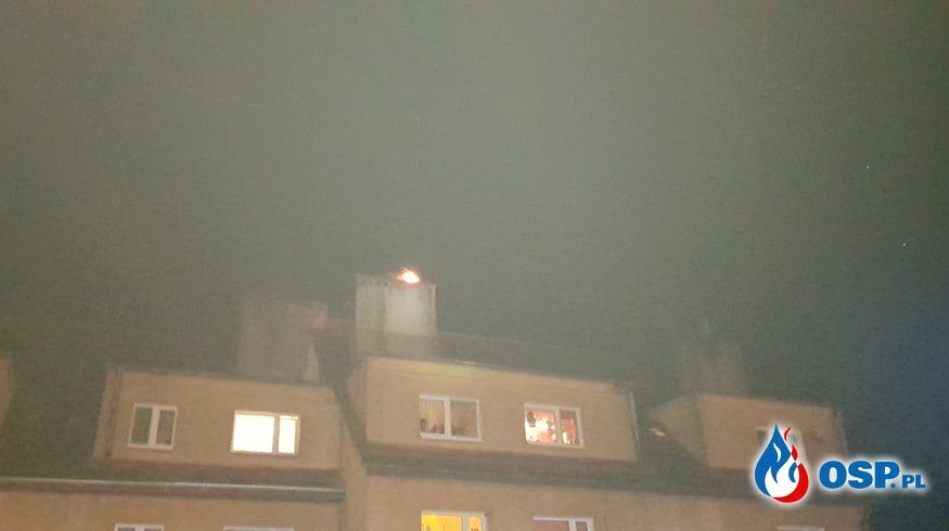 Noworoczny pożar sadzy w kominie. OSP Ochotnicza Straż Pożarna