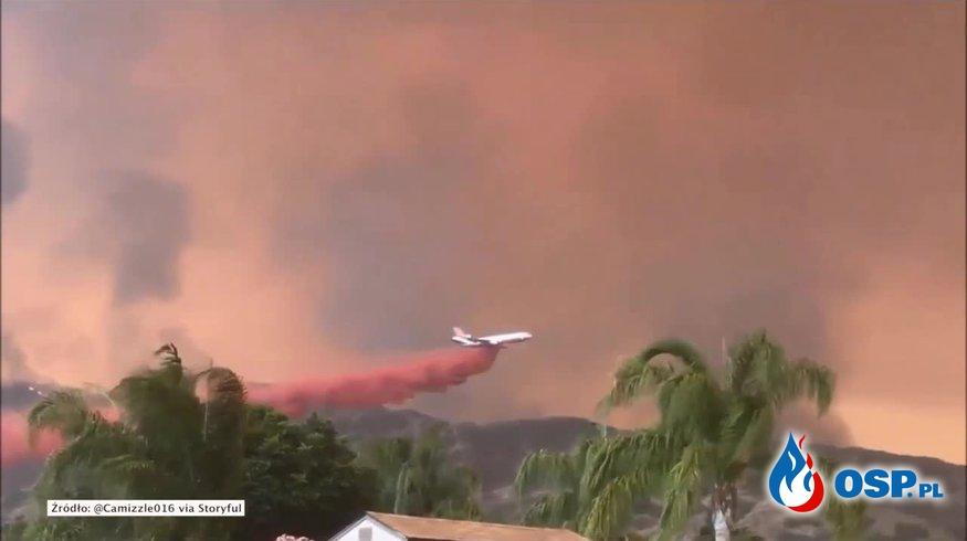 Boeing 747 Supertanker - największy samolot gaśniczy na świecie walczy z pożarami lasów. OSP Ochotnicza Straż Pożarna