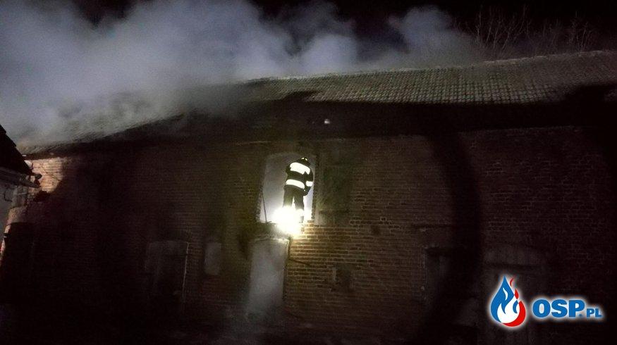 Pożar starej chlewni Polichno 24.03.2018 OSP Ochotnicza Straż Pożarna