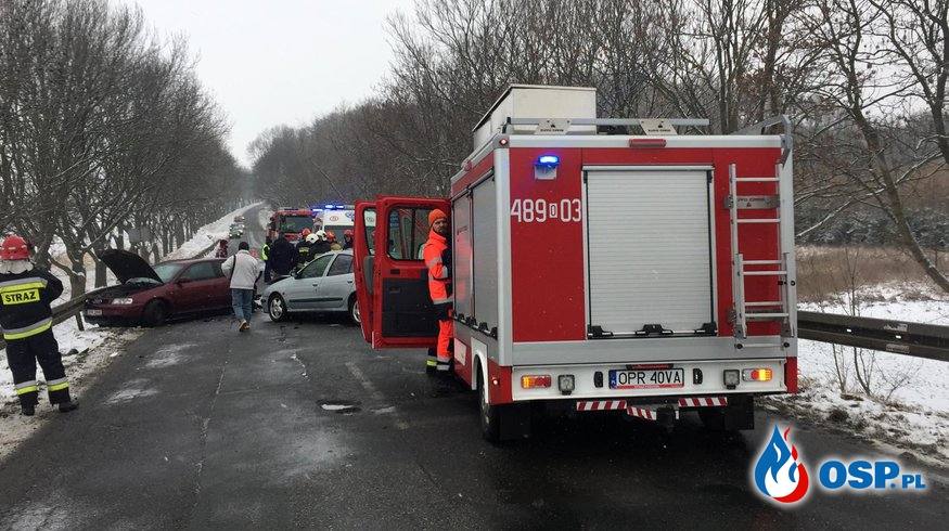 Wypadek na granicy gmin DW 414 OSP Ochotnicza Straż Pożarna