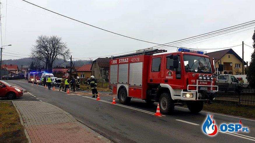 Wypadek drogowy - ul. Zakopiańska w Babicach OSP Ochotnicza Straż Pożarna