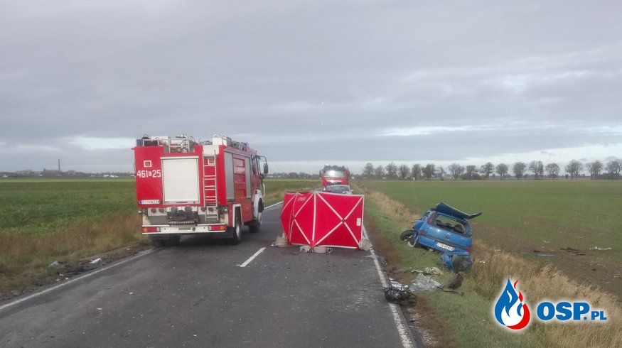 Śmiertelny wypadek na drodze Janikowo - Inowrocław OSP Ochotnicza Straż Pożarna