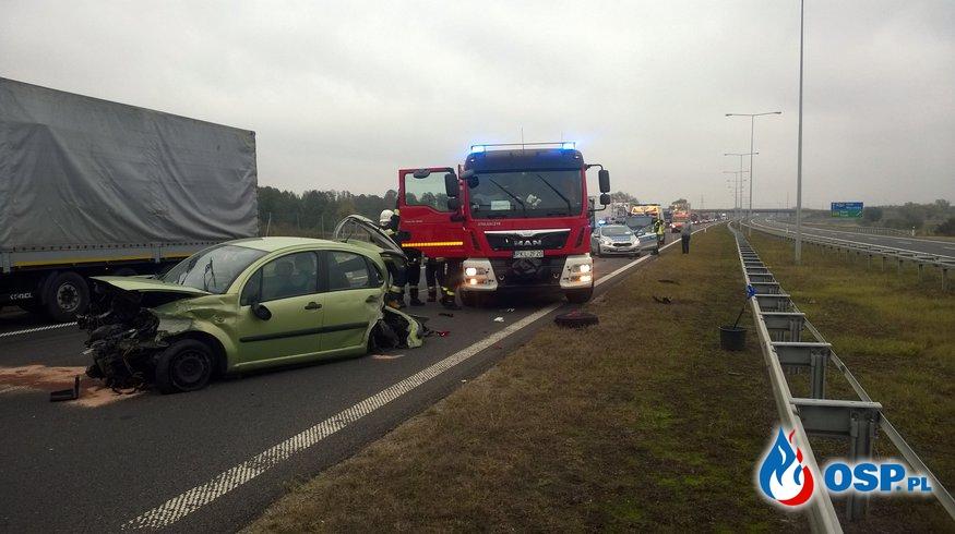 Wypadek na A-2, zderzenie dówch samochodów! OSP Ochotnicza Straż Pożarna