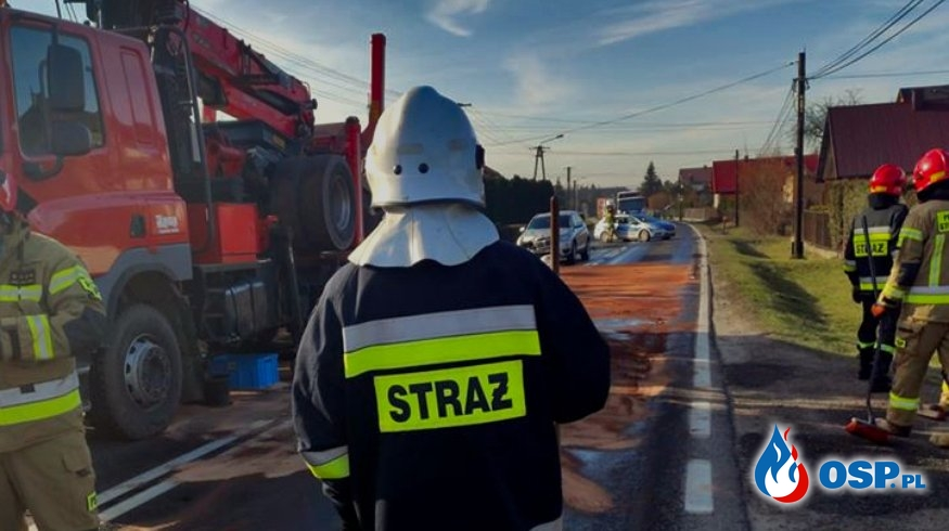 Kolizja drogowa - ul. Zatorska w Olszynach OSP Ochotnicza Straż Pożarna