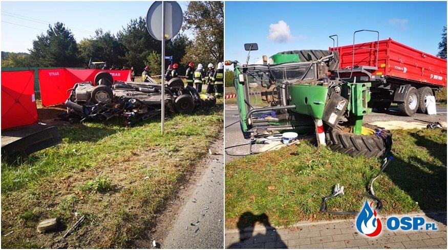 Auto zderzyło się z traktorem i dachowało. Nie żyje 19-latek. OSP Ochotnicza Straż Pożarna