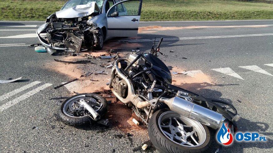 Wypadek z udziałem motocyklisty na DW 426 w miejscowości Olszowa OSP Ochotnicza Straż Pożarna