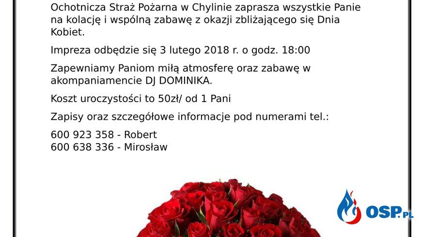 Zaproszenie na Dzień Kobiet OSP Ochotnicza Straż Pożarna