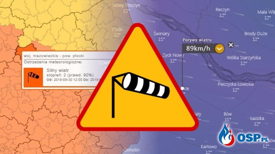 Możliwe silne porywy wiatru OSP Ochotnicza Straż Pożarna