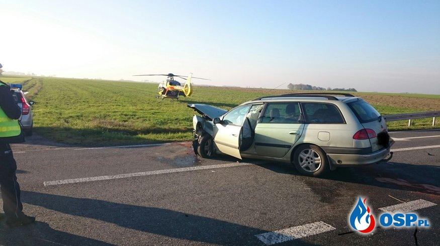 Wypadek na drodze wojewódzkiej w Ligocie Dolnej OSP Ochotnicza Straż Pożarna