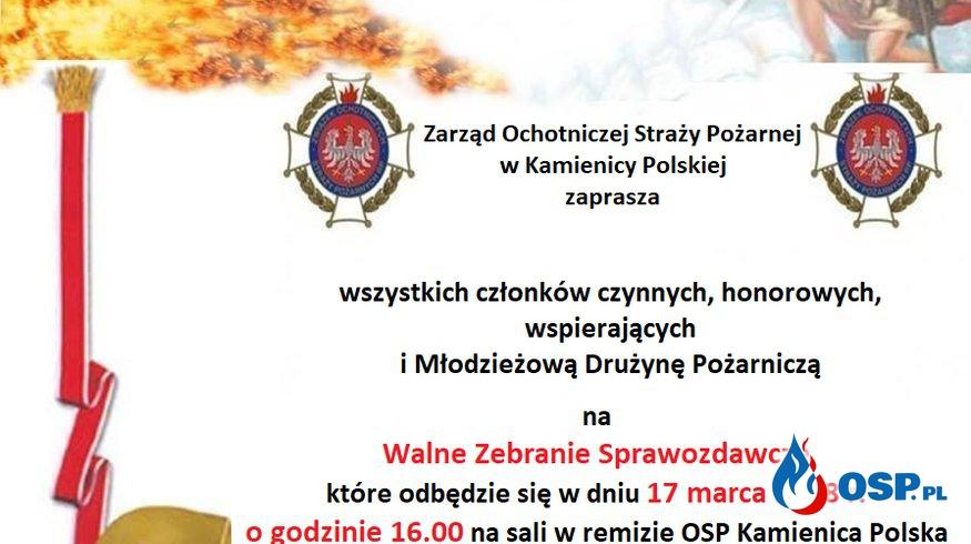 Walne zebranie. Informacja OSP Ochotnicza Straż Pożarna