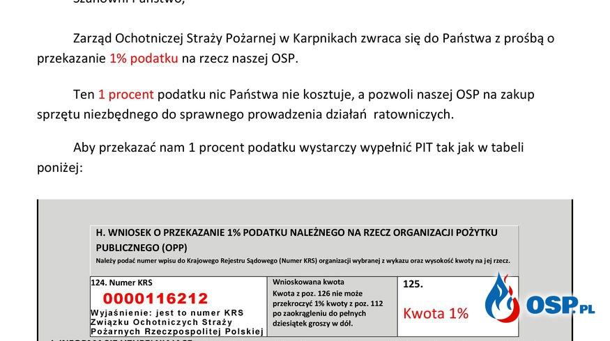 1% dla naszej OSP OSP Ochotnicza Straż Pożarna