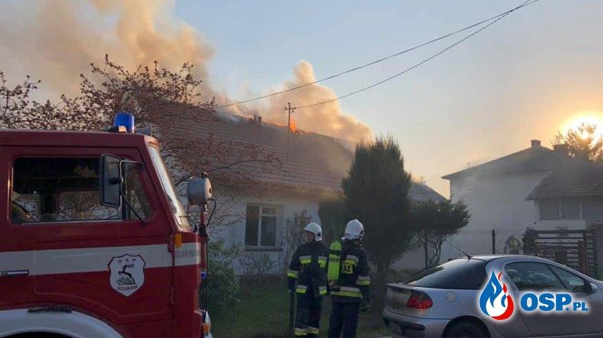 Pożar domu w Dąbrowie OSP Ochotnicza Straż Pożarna