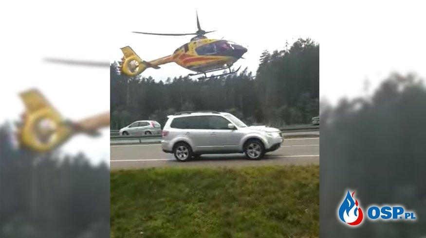 Śmigłowiec LPR lądował na S3. Część kierowców jechała dalej. OSP Ochotnicza Straż Pożarna