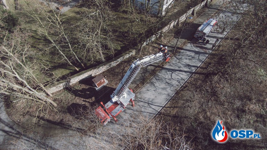 Ćwiczenia z procedur prowadzenia akcji podczas usuwania skutków silnych wiatrów, oraz pracy z użyciem podnośnika koszowego OSP Ochotnicza Straż Pożarna