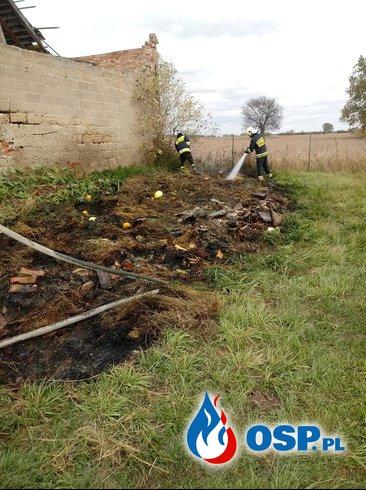 Pożar sterty siana i śmieci OSP Ochotnicza Straż Pożarna