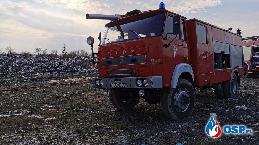 Drugi pożar na składowisku odpadów w Pyszącej. OSP Ochotnicza Straż Pożarna