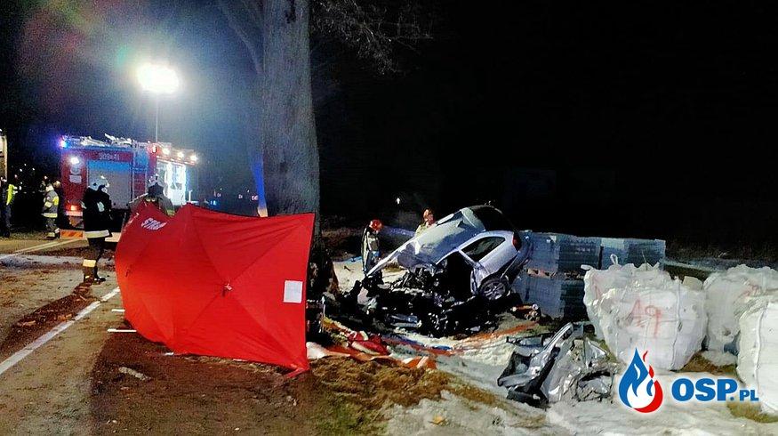 26-letni kierowca zginął w wypadku na Pomorzu. Auto rozbiło się na drzewie. OSP Ochotnicza Straż Pożarna