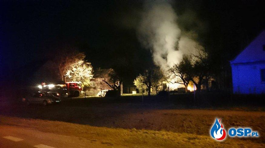 Nocny pożar stodoły OSP Ochotnicza Straż Pożarna
