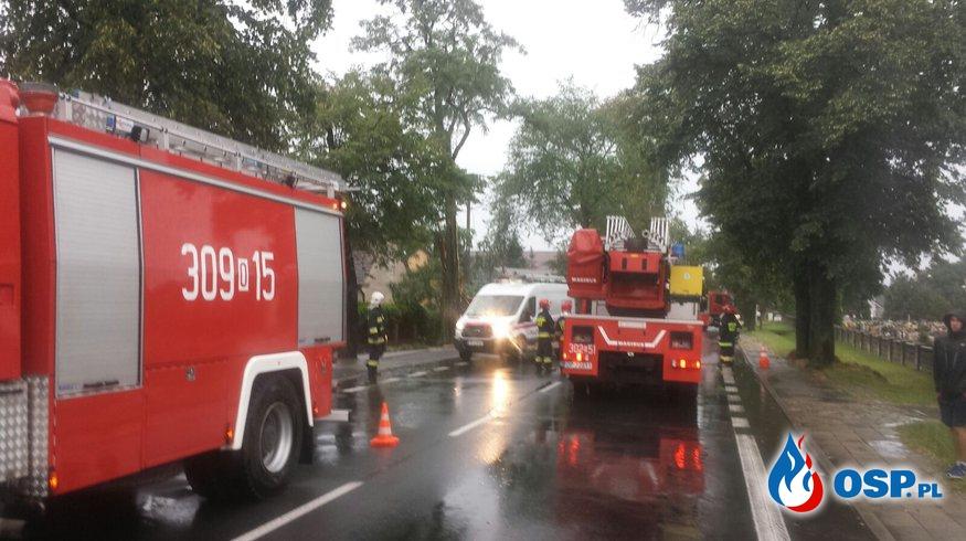 Efekty burzy nad miastem OSP Ochotnicza Straż Pożarna