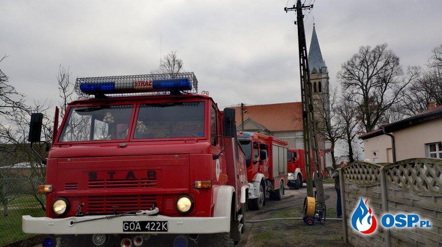 Templewo - Pożar w piwnicy OSP Ochotnicza Straż Pożarna