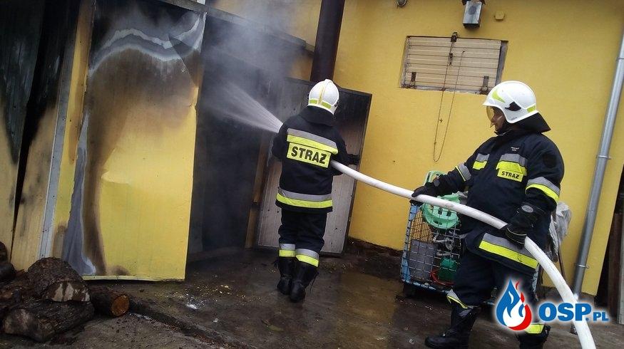 5 zastępów w akcji - Pożar kotłowni OSP Ochotnicza Straż Pożarna