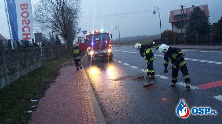 Wyciek substancji ropopochodnej na odcinku 4 km OSP Ochotnicza Straż Pożarna