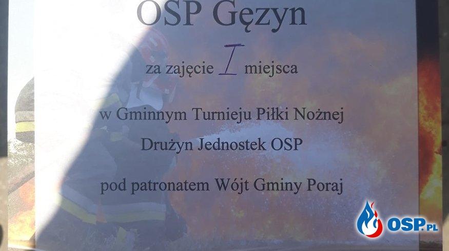 Pierwsze miejsce w Gminnym Turnieju Piłki Nożnej Drużyn Jednostek OSP OSP Ochotnicza Straż Pożarna